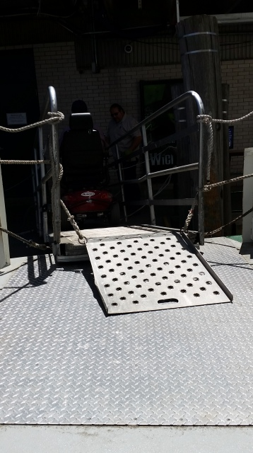 Ramp access onto our cruise boat
